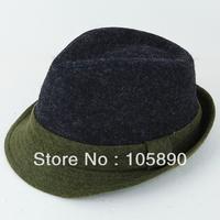 New Trendy Mens Womens Wool Felt Bowler Hat Fedora Trim Unisex Green & Black  HAT05