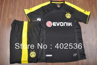 Free shipping ! Brand logo ! 13/14new style best  quality Dortmund black  soccer uniform ,sports wear ,football kit