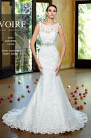 Fashion New Exquisite Jewel Cap Sleeve Appliqued Tulle Sleeveless Custom Made Mermaid Wedding Dresses 2014