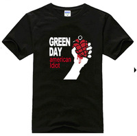 100% cotton rock t-shirt short-sleeve punk fashion personality basic shirt greenday green plus size available t