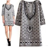2014 Autumn and Winter New Fashion European and American Style Women Ethnic Totem Print Dress Black White Gray Casual Dress