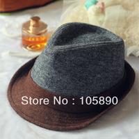 New Trendy Mens Womens Wool Felt Bowler Hat Fedora Trim Unisex Coffee & Gray  HAT07