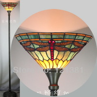 Tiffany Style Dragonfly Torchiere Lamp for Living Room Floor Lamp Uplight Stained Glass Lampshade Indoor Lighting W14""