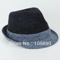 New Trendy Mens Womens Wool Felt Bowler Hat Fedora Trim Unisex Gray & Black HAT01