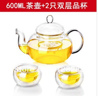 Glass Teapot 600ML 2 pcs Small Glass Tea Cup High Temperature Resistance Integrative and Convenient Office