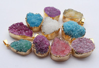 YA0705 Druzy Pendants Mixed Colors Druzy Gem stone Findings Gold/Silver 25-35mm long
