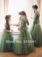 2014 Best Selling Flower Girl Dresses A Line Scoop Neck Pleat Half Sleeves Organza Floor Length yk8R050