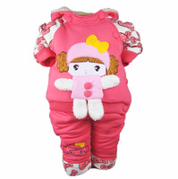 13 baby winter set female baby thickening outerwear 0 - 1 - 2 years old winter wadded jacket