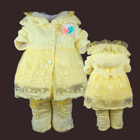 Baby winter wadded jacket set female child winter thickening cotton-padded princess outerwear 0-1 - 2 - 3 baby clothes