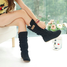 big size drop shipping winter style round toe flat flock fashion knee-high heel boots women casual shoes sweet snow boots WLY662(China (Mainland))