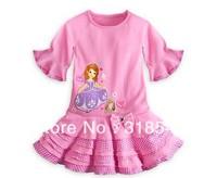 Free shipping 5pcs/lot  children clothing girls character dress sophia princess cake dress