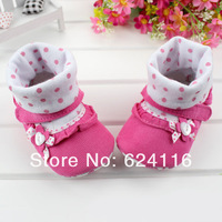 BX75 6pairs/lot Top Fashion Lovely Bow Dots Cute Newborn Soft Baby Shoe First Walker Shoes Toddler Baby Girls Infant Boot