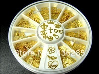 Mixed style gold 3D Metal Glitters Slice DIY Nail Stickers Nail Art Decoration round Wheel     NA042
