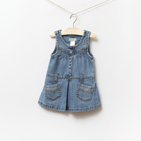 Latest 2013 baby girls solid color denim dress infant sleeveless fashion dress kids pocket casual denim dress free shipping