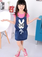 Latest 2013 baby girls cartoon rabbit dress kids denim casual dress toddlers silp cute dress free shipping