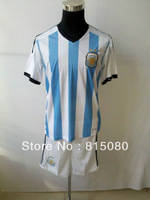Can customed!13 14 Argentina white+sky blue shirt soccer jerseys suit top quality 2014 Argentina soccer uniform kit &short
