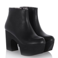 ENMAYER Womens Ankle Boots Punk Rock Black White Strap Chunky Heels Platform womens Ankle Boots Shoes large size 34-42