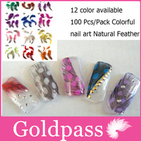 100 Pcs Fabulous Feather Nail Art 3D Sticker French Tips / Nail Feather Decoration / Nail Decoration FD003 RED + Free shipping