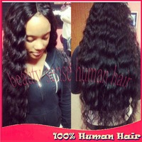 Beauty long off black spanish wave 130%-180% density unprocessed brazilian virgin lace front wig glueless bleached knots !