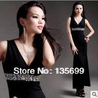 Free Shipping Deep V sexy Long Dresses