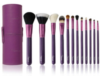 HOT! Free Shipping NEW Arrival SIXPLUS 12pcs Makeup Brush Set in Round Purple Leather case HQ