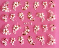 3D Nail Art Stickers Gold Stones sticker Mix Design White Sheets Bows flowers butterflies