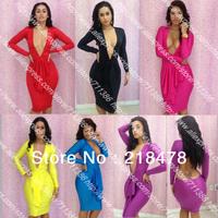 Dresses New Fashion 2013 Sexy Bandage Dress Bodycon Deep V Long Sleeve Party Evening Elegant Dress Free Shipping 6 Colors S,M,L