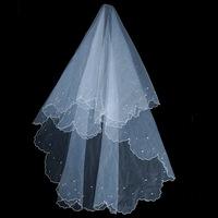 White elastic soft net rhinestone elegant drop bordered bling bride wedding accessories 1.5 meters long veil