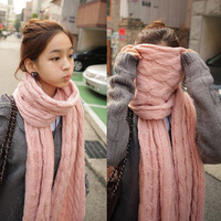 Scarf autumn and winter female ultra long thickening yarn twist scarf women's ultra long thickening cape
