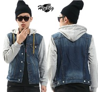 Exclusive 100% High quality  new winter/spring men denim jackets with hood  # J-07