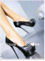 14CM cm ultrafine metal thick-skinned bottom with sexy black high heels high heel shoes 330 large yard fun