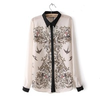 Fashion Ladies' elegant china Style Pattern print blouse quality casual shirt office lady business wear