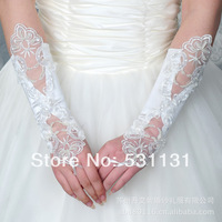 Formal wedding accessories gloves  embroidered lace satin fingerless gloves