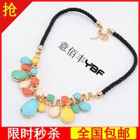 Candy color necklace female multicolour acrylic drop colnmnaris short design chain jewelry