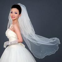 Big pearl bride wedding veil long design bridal accessories multi-layer veil bride