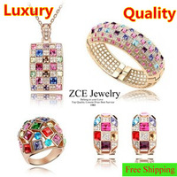 Quality Queen Austrian Crystal sets Necklaces bangles earrings 17cm rings Rose gold plated Luxury wedding sets