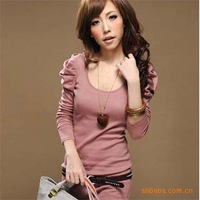 2013 winter new Korean Women casual round neck pullover women bottoming shirt long-sleeved T-shirt Slim t-shirt Puff