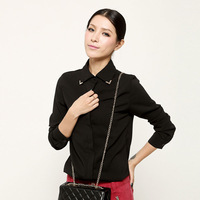 New 2013 Fashion Vintage Black Blouses Women With Long Sleeve European Style