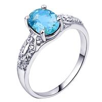 Free shipping genuine natural blue topaz   S925 Silver Ring Korean women SR0151Brings for women