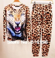 High quality Leopard  printing  Size 2013 Autumn Winter 3D Print Sport Sweater Hoody  Sweatshirt set Freeshipping