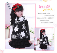 Free Shipping New fashion Girls Thick Turtleneck Cotton T Shirt Kids Long Sleeve Lace Flower Under Blouse Children Clothes