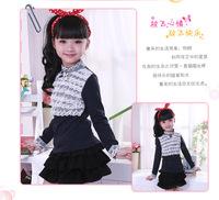 Free Shipping New fashion Girls Thick Cotton Turn-down Collar T Shirt Kids Long sleeve Under Blouse Children Beautiful clothing
