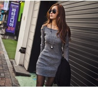 2013 Spring and Autumn new women sexy strapless package hip nightclub Slim was thin long-sleeved dress
