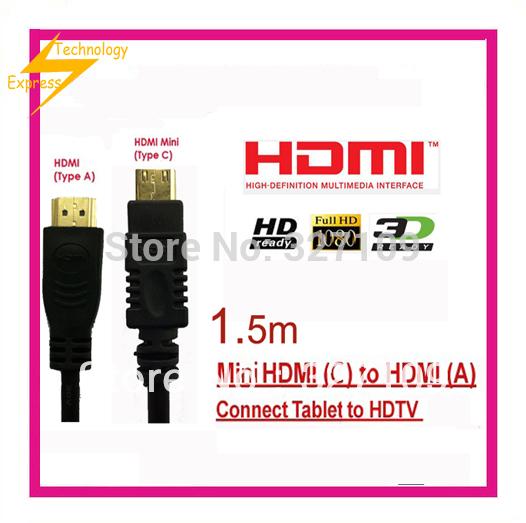 Mini HDMI to HDMI cable 1.5m for Panasonic HX-DC1/K HX-WA10 HM-TA20RP-CDHM15 Digital Camera(China (Mainland))