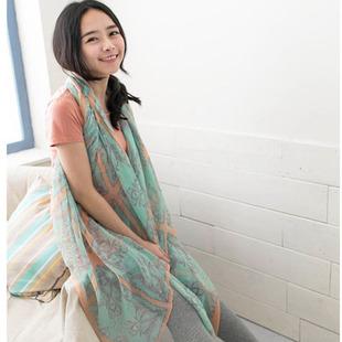 2 cashers imprimir fiado rayon lenço de seda outono e inverno cachecol feminino capa dupla(China (Mainland))