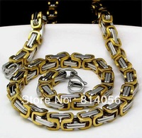 FREE SHIPPING  NEW Stainless Steel Men's 9.6mm WEIGHT  Byzantine  Necklace Silver chain Necklace, Wholesale and retail