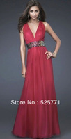 2014 New Sexy V Neck Beaded Evening Dresses Prom Dresses Party Long Dress Custom Size