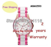 New WHITE/PINK RUBBER ROSE GOLD TRIM CHRONOGRAPH CALENDAR WOMEN WATCH MBM2593 MBM 2593 LADIES WRISTWATCH