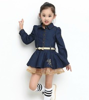 2013 New Western Style Girls Cowboy Dress Long Sleeve Striped Jeans Children's Wear One-Piece Dress With Belt