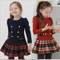 2013 New Baby Girls Dress Spring Autumn Plaid Full Sleeve Children Kid's Campus School Princess Dress Wool Wear Free Shipping